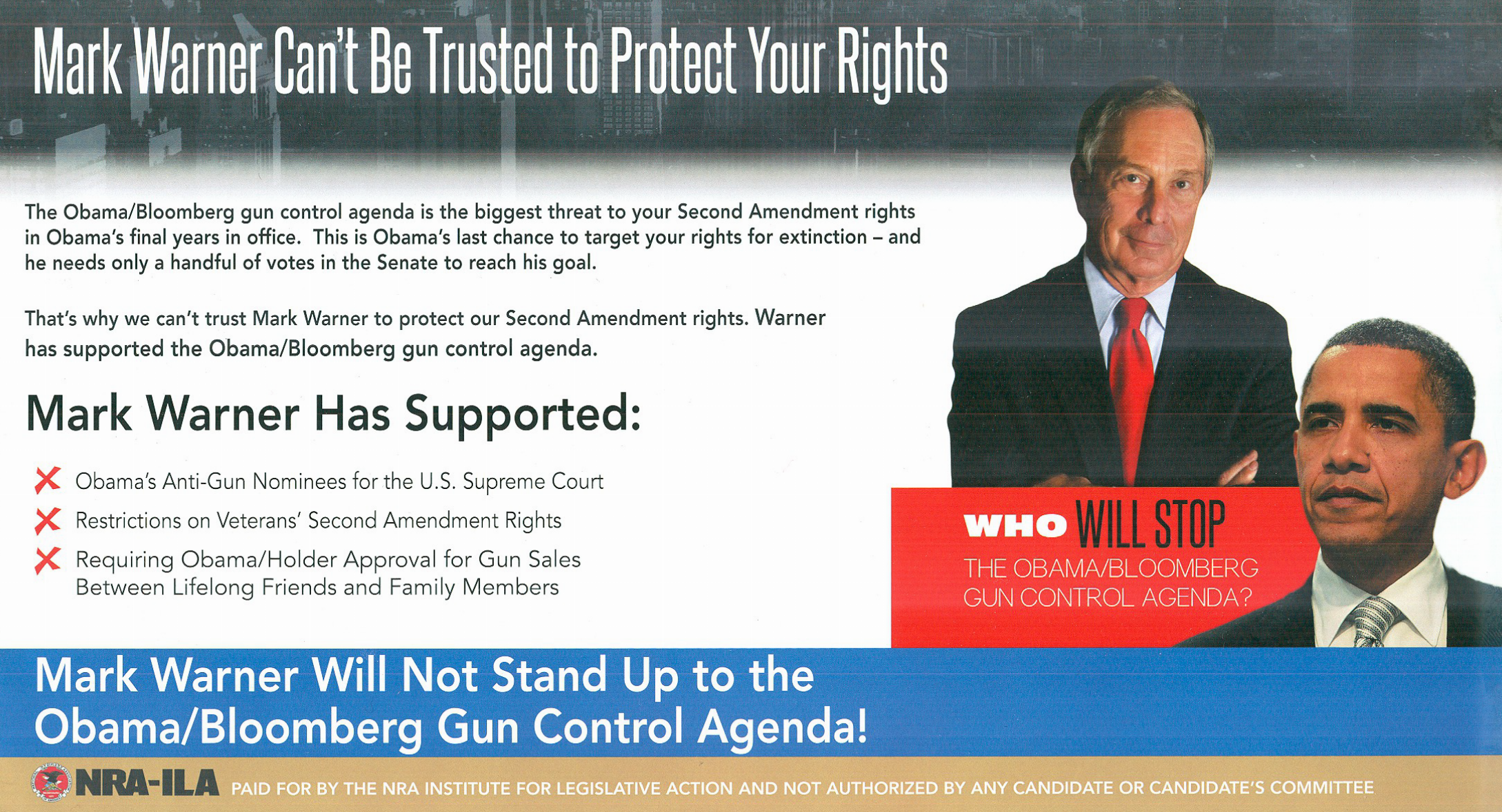 Nra Says Warner Backed Restrictions On Veteran Gun Rights